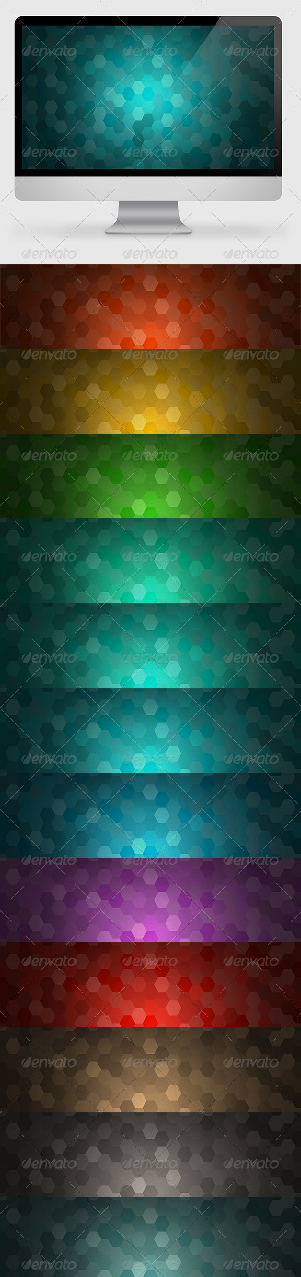 12 Hexagon Backgrounds - Abstract Backgrounds
