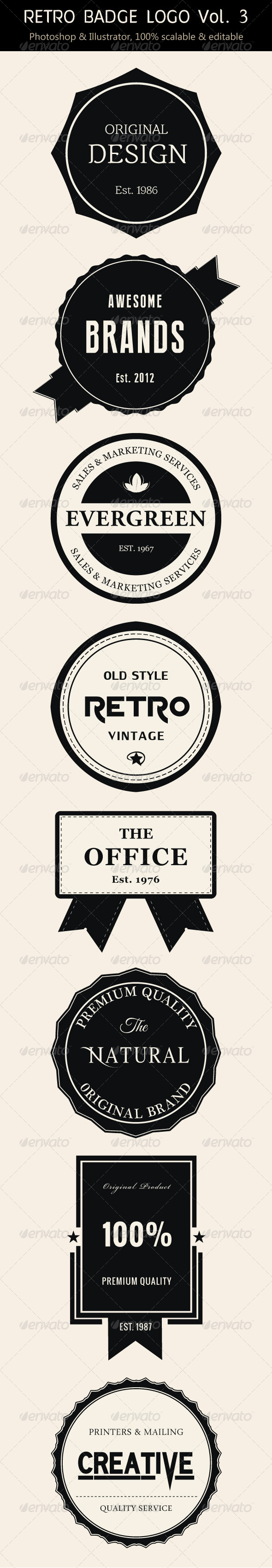 Retro Badge Logo Vol. 3 - Badges & Stickers Web Elements