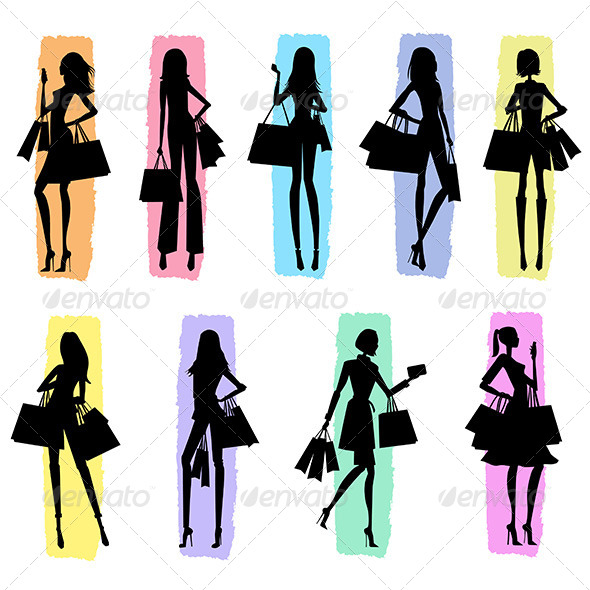 Silhouettes of Women Shopping - People Characters
