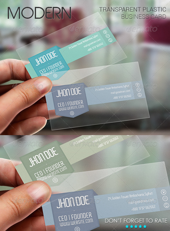 Modern Plastic Business Card Template - Corporate Business Cards