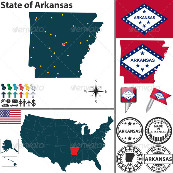 Map of State Arkansas USA - Travel Conceptual