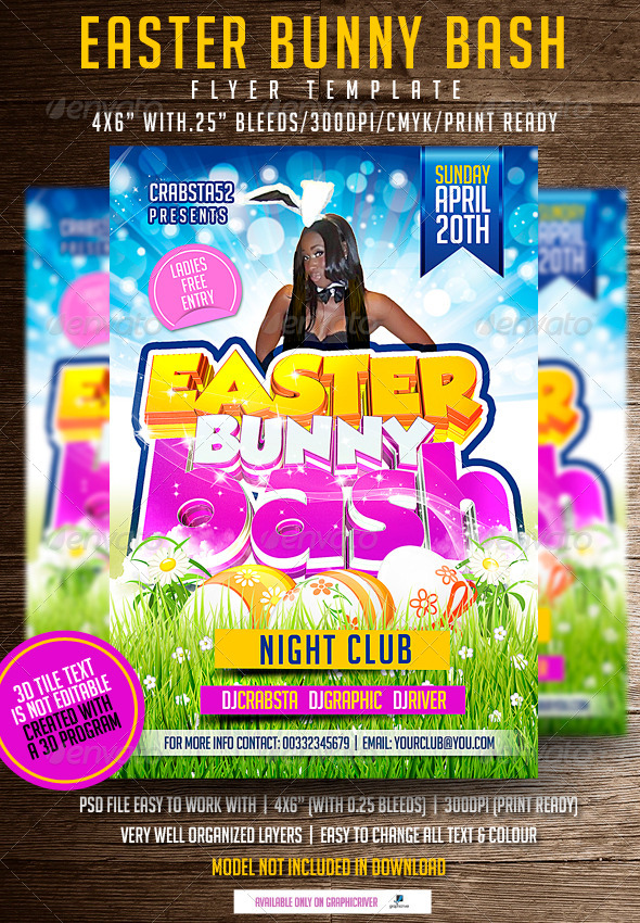 Easter Bunny Bash Flyer Template - Events Flyers