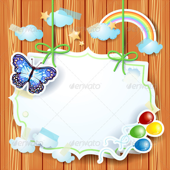 Spring Background with Butterfly and Label - Landscapes Nature