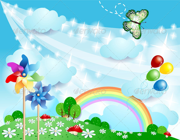 Spring Background with Pinwheels and Butterfly - Landscapes Nature