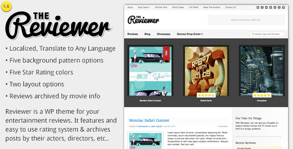 Free Download Reviewer - WP Theme for Entertainment Reviews Nulled Latest Version