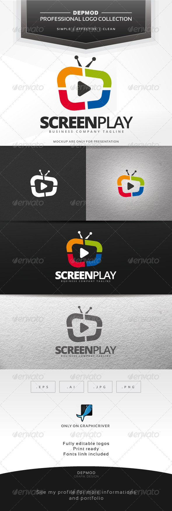 Screen Play Logo - Symbols Logo Templates