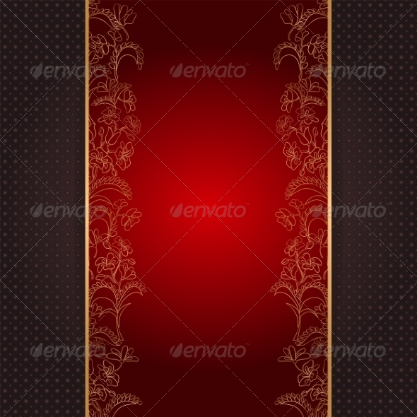 Invitation Card with Gold Floral Ornament - Backgrounds Decorative