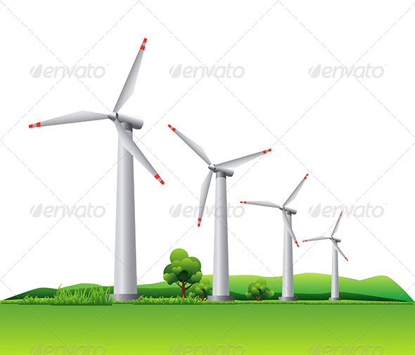 Wind Turbines on a Meadow - Technology Conceptual