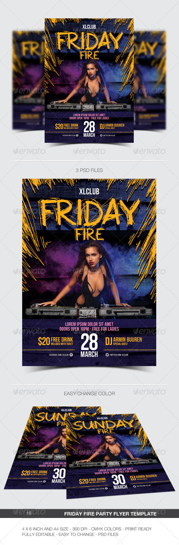 Friday Fire Party Flyer / Poster - 16 - Clubs & Parties Events