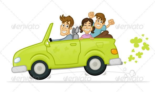 Green Car - People Characters