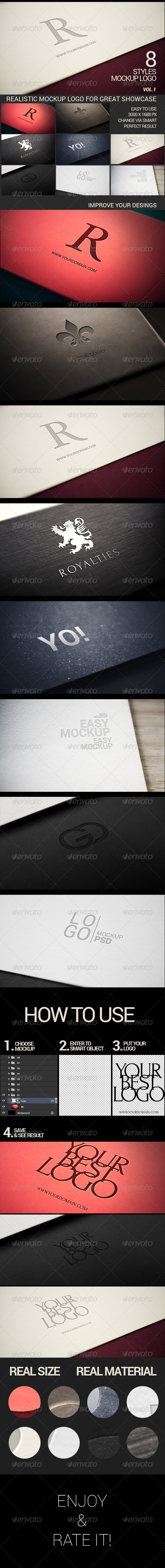 Photorealistic Modern Logo Mock-Up Pack Vol.1 - Logo Product Mock-Ups