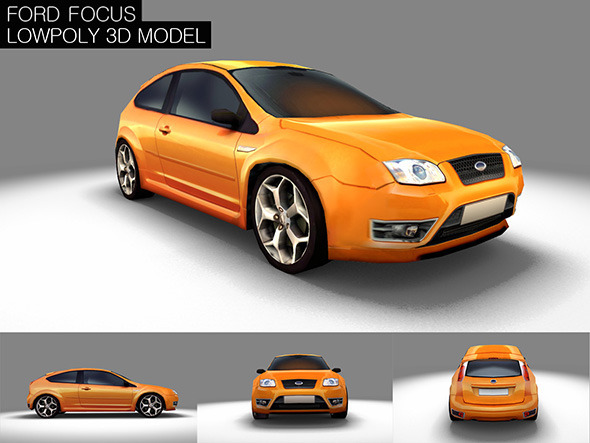 Low Poly Ford Focus Game Model - 3DOcean Item for Sale