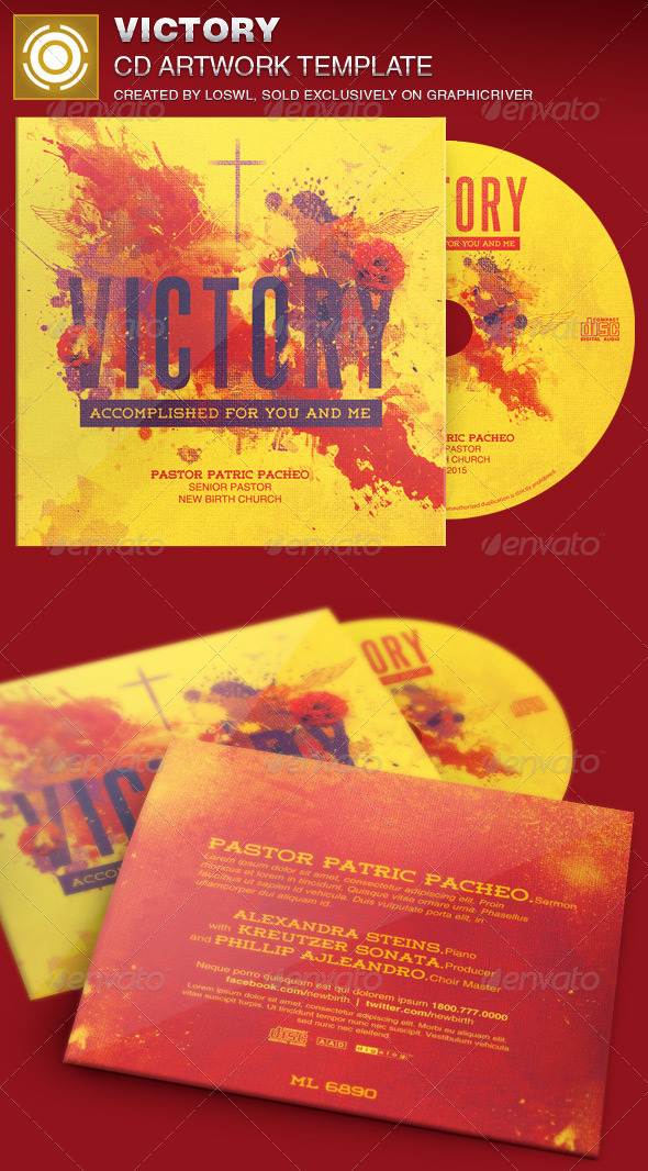 Victory CD Artwork Template - Print Templates