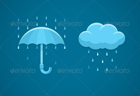 Rainy Weather Flat Icons with Cloud Rain Drops - Web Elements Vectors