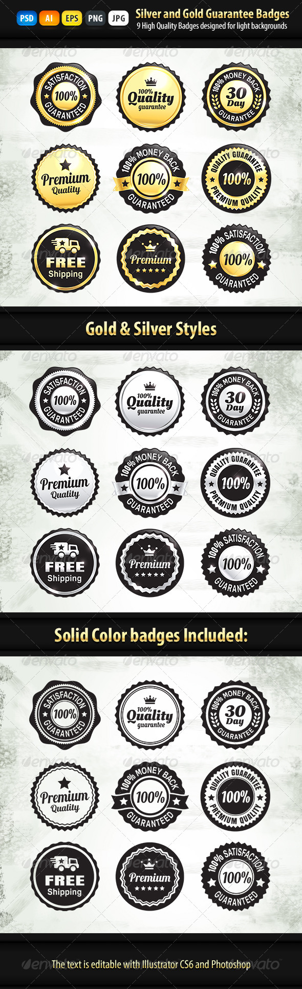 9 Gold And Silver Quality Guarantee Badges - Badges & Stickers Web Elements