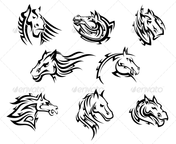 Horse Head Tribal Tattoos - Animals Characters
