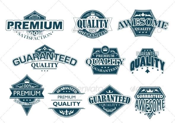 Labels Set Denoting Premium Quality - Retail Commercial / Shopping