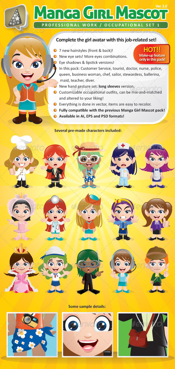 Manga Girl Mascot Creation Kit - Occupational Set - Characters Vectors