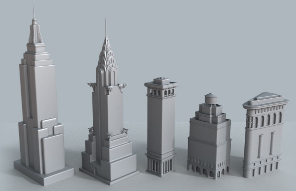 New York cartoon building collection - 3DOcean Item for Sale