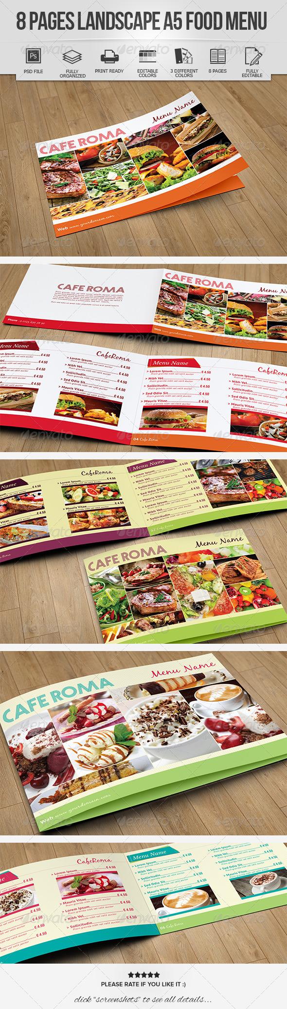 8 Pages Landscape A5 Food Menu - Food Menus Print Templates