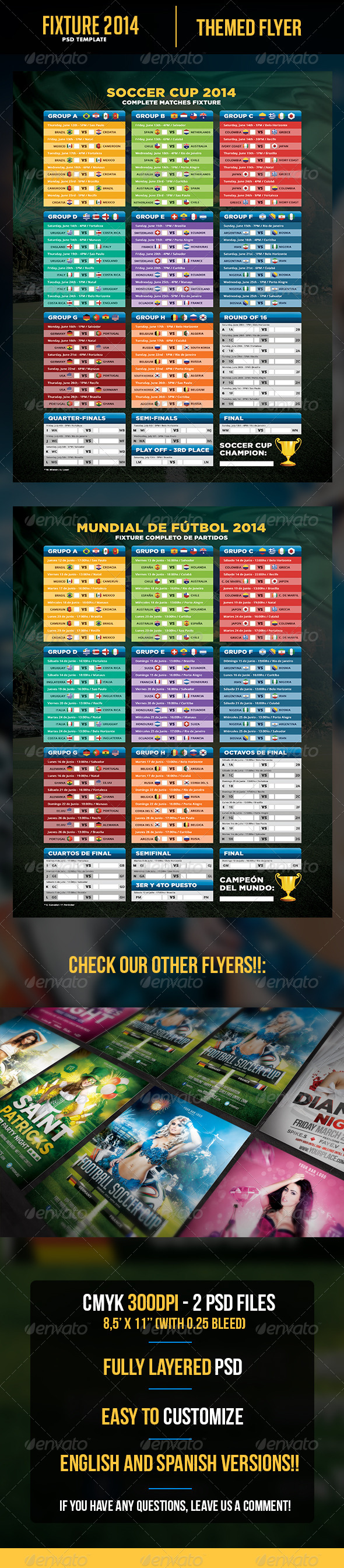 Soccer Cup 2014 Fixture - English and Spanish - Print Templates
