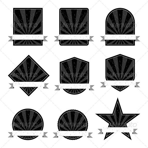 Black and White Retro Labels - Decorative Symbols Decorative