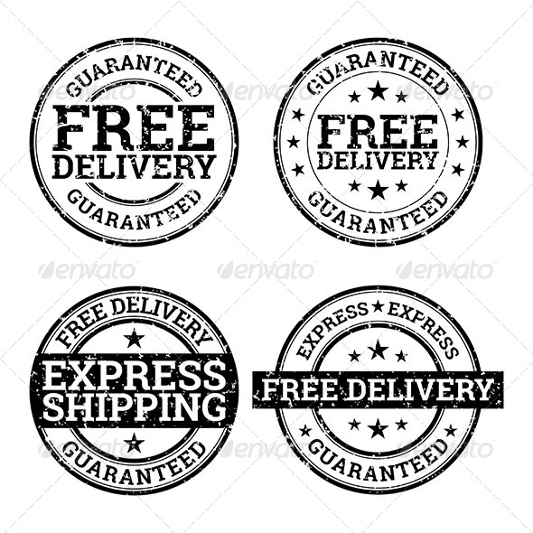 Free Delivery Black and White Stamps - Decorative Symbols Decorative
