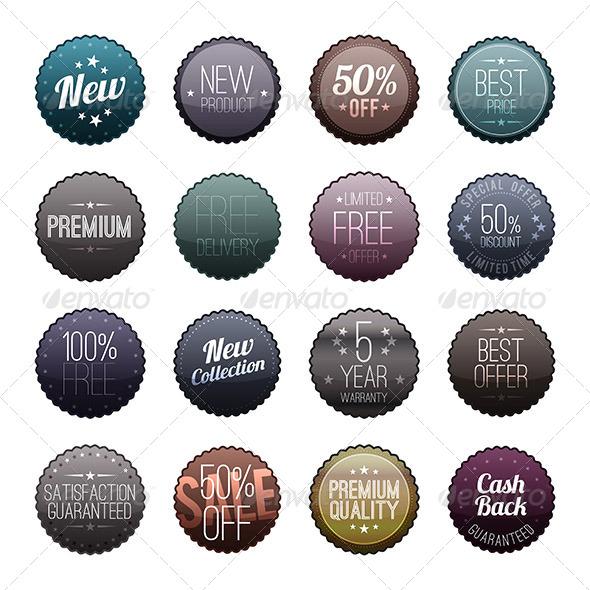 Glassy Dark Marketing Badges - Decorative Symbols Decorative