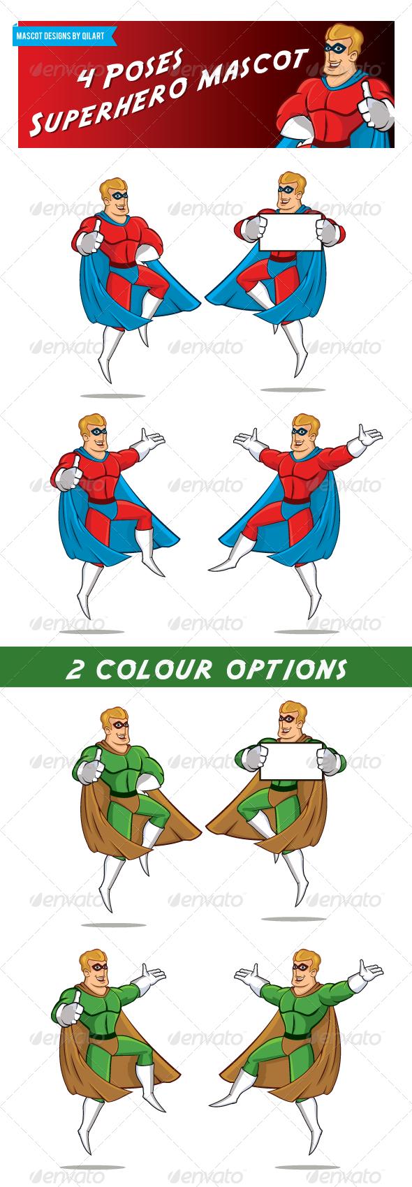4 Pose Superhero Mascot - Characters Vectors