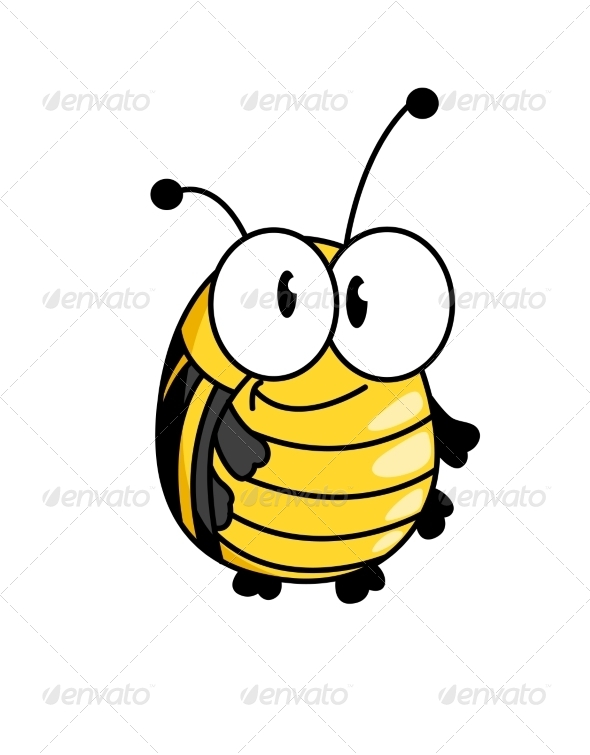Smiling Fat Little Bumble Bee - Animals Characters