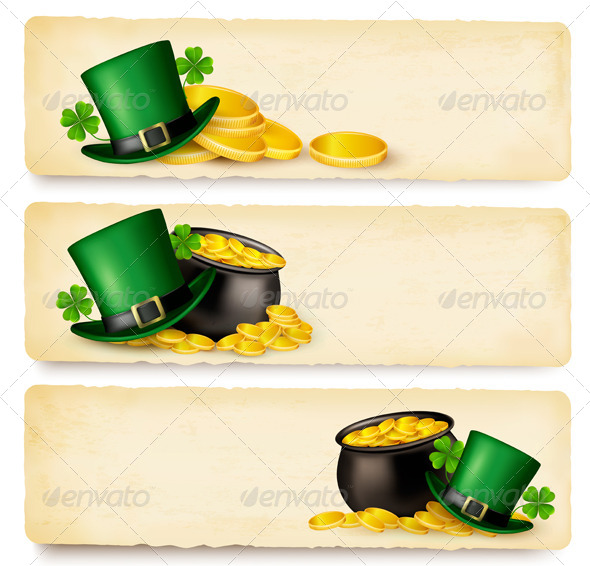 Three Saint Patrick Day Banners with Lover Leaves - Miscellaneous Seasons/Holidays