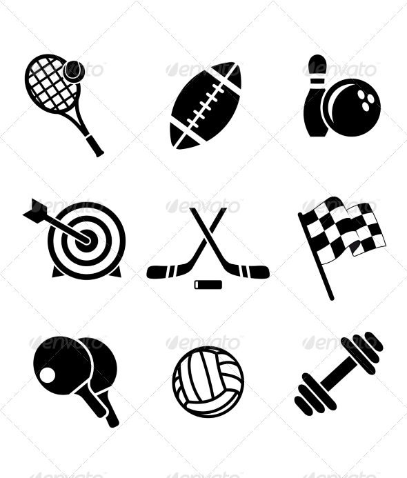 Black and White Sporting Icons - Sports/Activity Conceptual