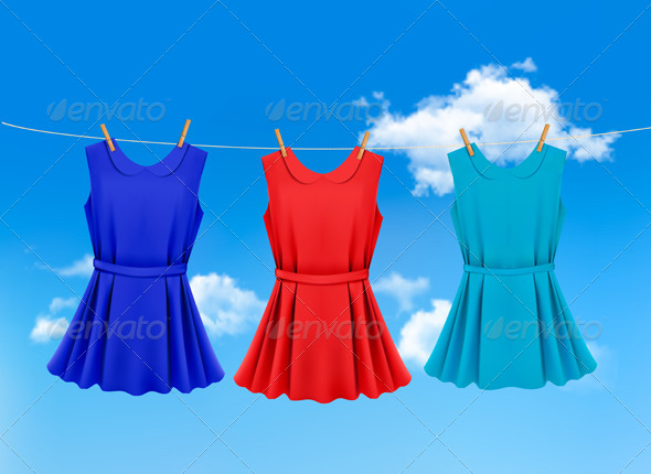 Set of Colored Dresses Hanging on a Clothesline - Commercial / Shopping Conceptual