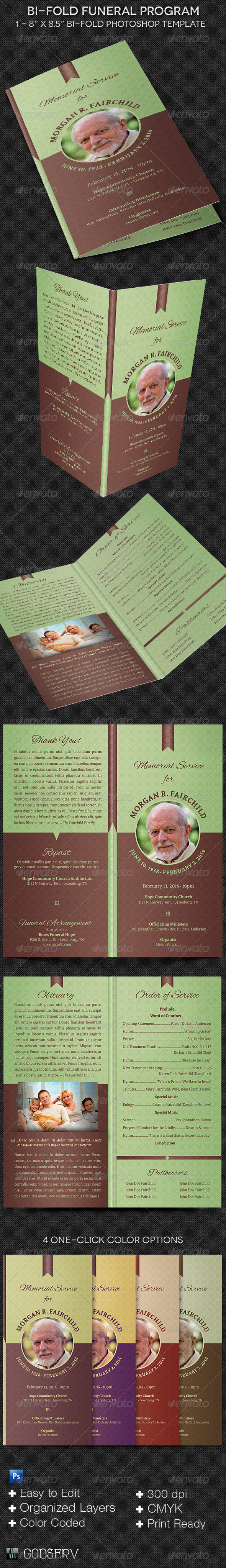 Bi-fold Funeral Program Template - Informational Brochures