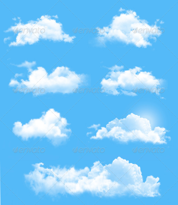 Set of Transparent Different Clouds - Nature Conceptual