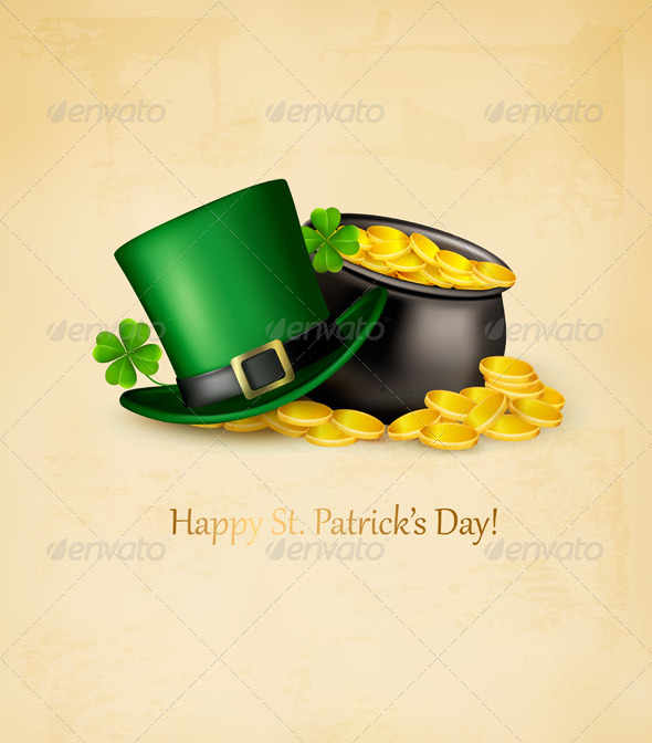 Saint Patricks Day Background with Clover Leaves - Miscellaneous Seasons/Holidays