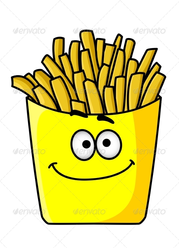Golden Crispy French Fries in a Packet - Food Objects