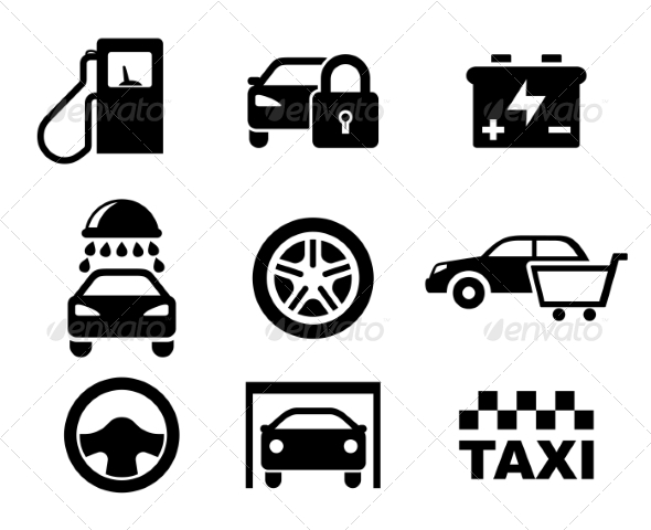 Black and White Car Service Icons - Miscellaneous Vectors