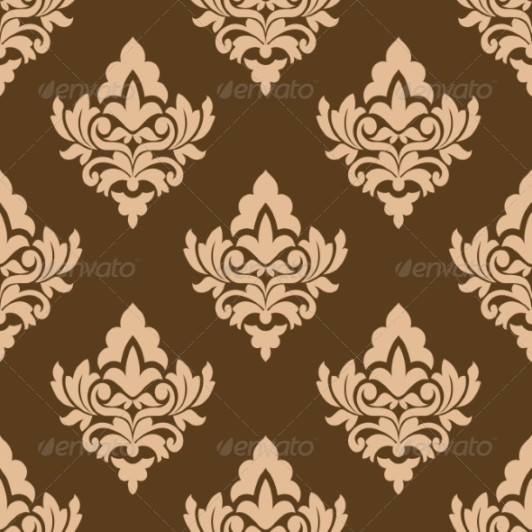 Seamless Pattern with Floral Arabesques - Patterns Decorative