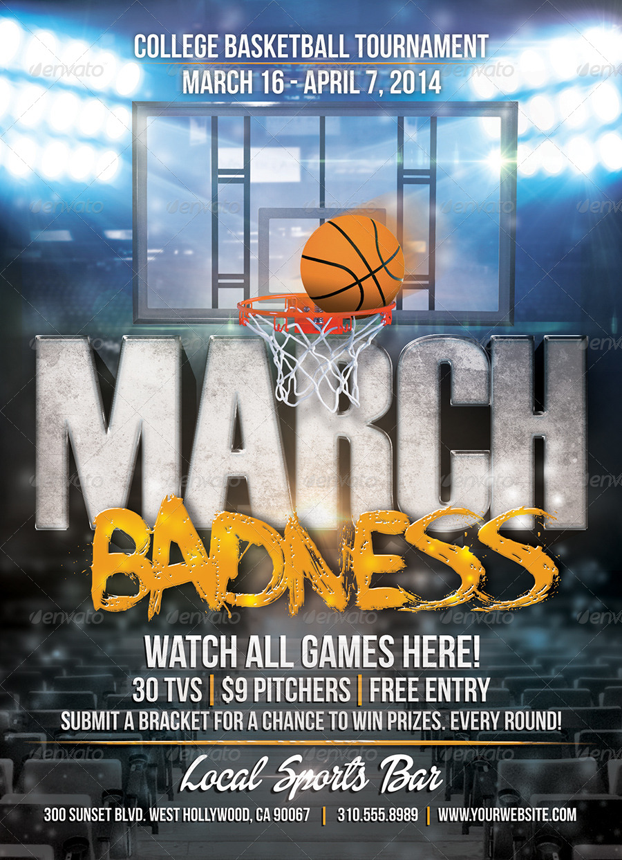 march badness college basketball flyer by willaca
