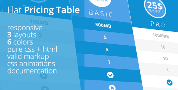 Flat UI Pricing Table - CodeCanyon Item for Sale