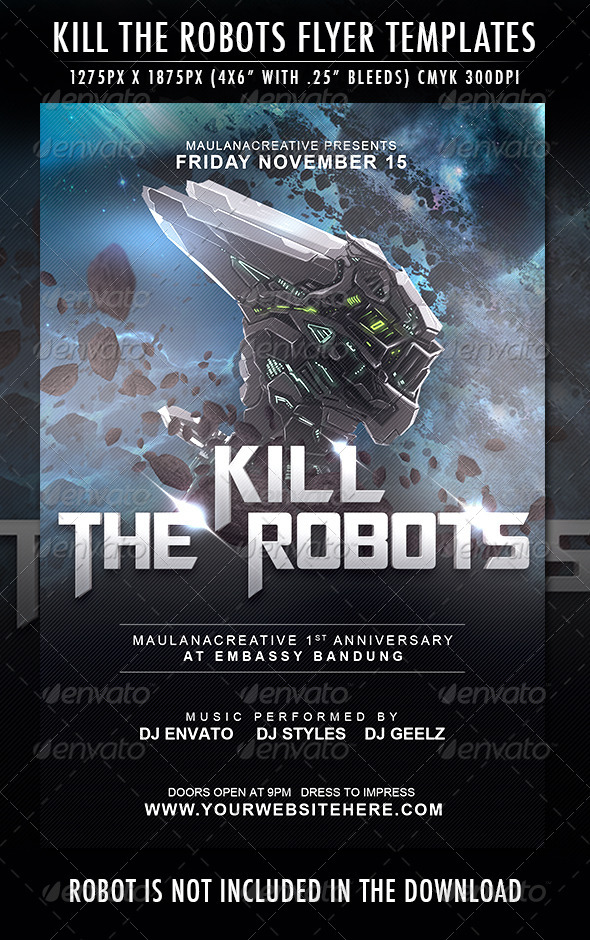 Kill the Robots Flyer Template - Clubs & Parties Events