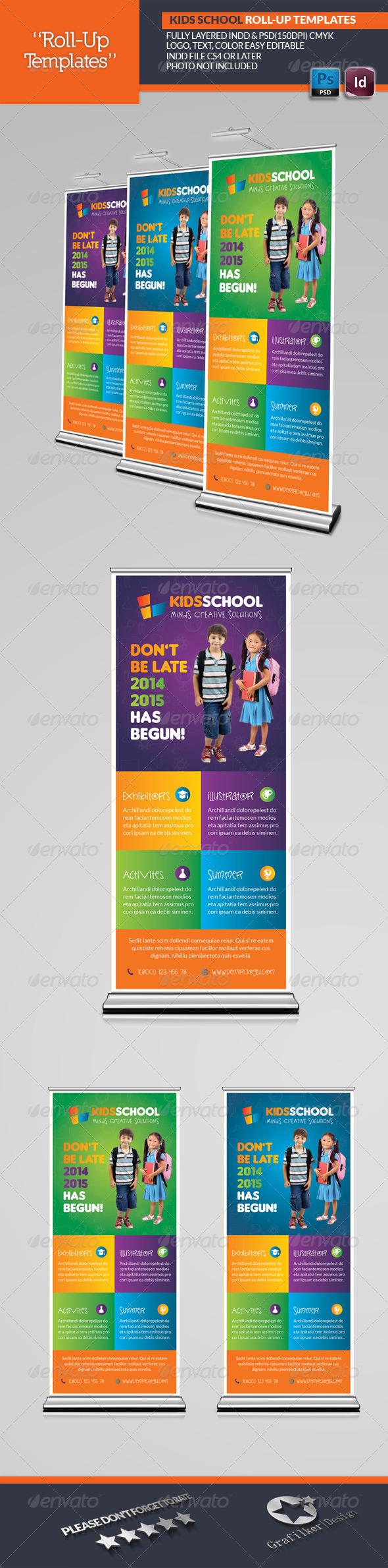 Kids School Roll-Up Templates - Signage Print Templates