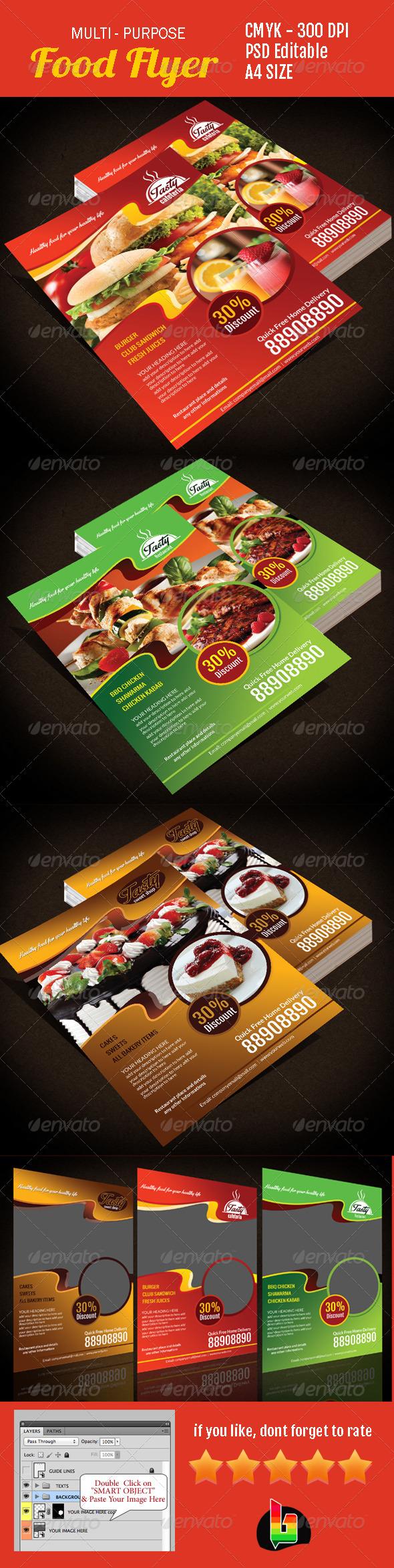 Multi-Purpose Food Flyer - Restaurant Flyers