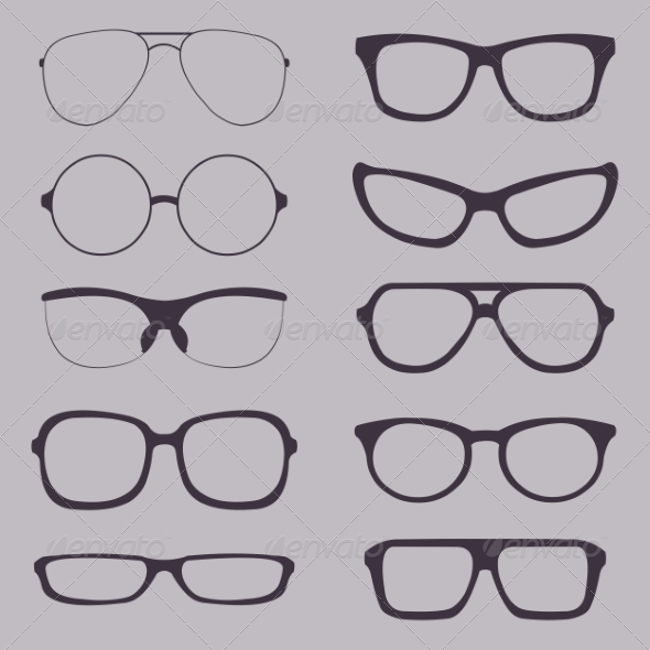 Set of Glasses Silhouettes - Man-made Objects Objects