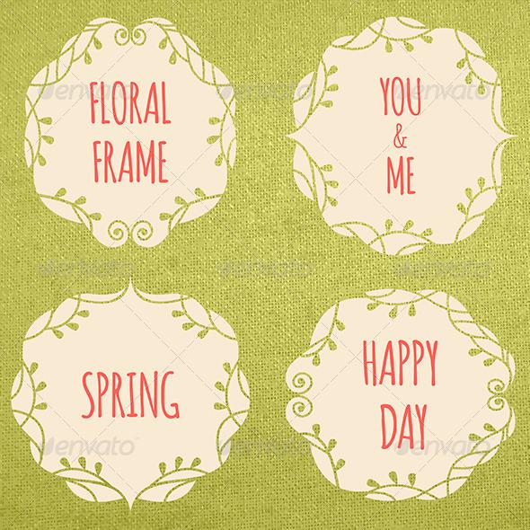 Set of Ornate Floral Frames - Borders Decorative