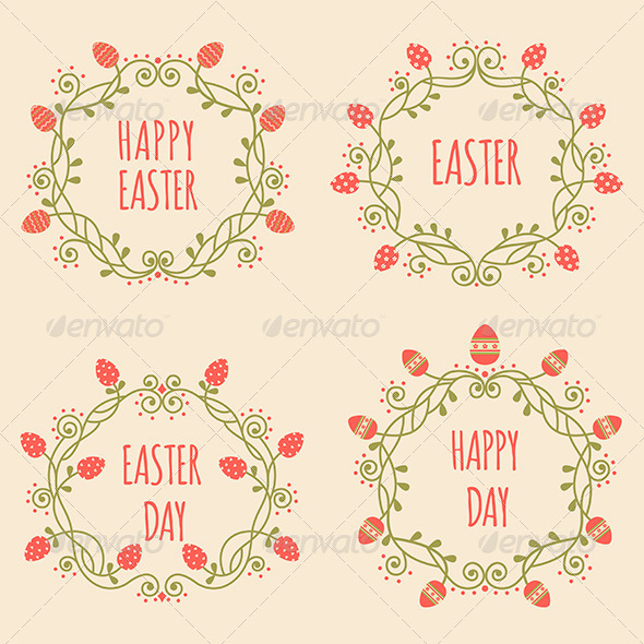 Set of Easter Ornate Frames with Eggs - Borders Decorative