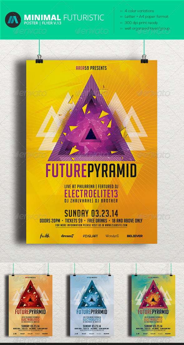 Minimal - Futuristic Poster | Flyer V.13 - Clubs & Parties Events