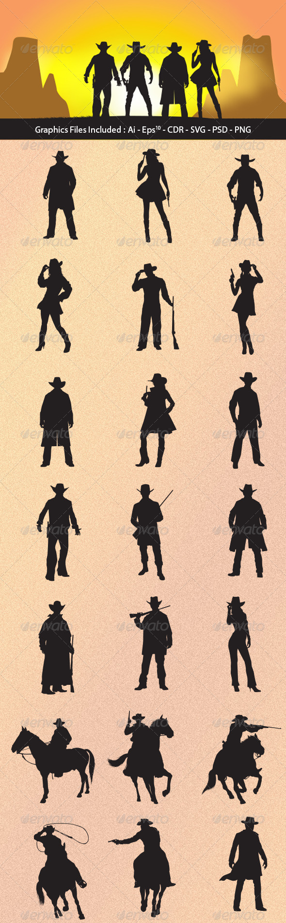 Cowboy Silhouettes - People Characters