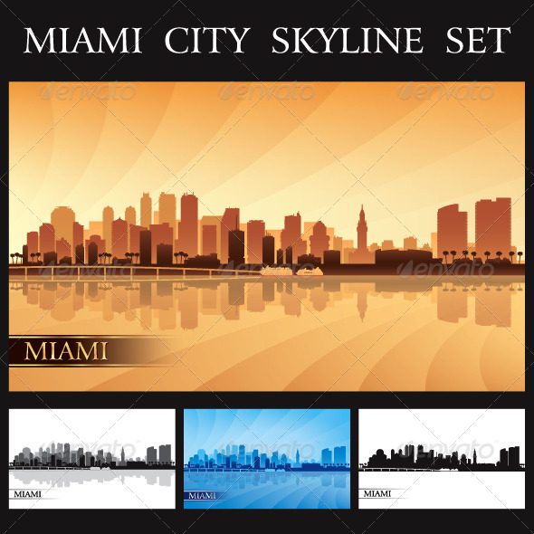 Miami City Skyline Silhouettes Set - Backgrounds Decorative